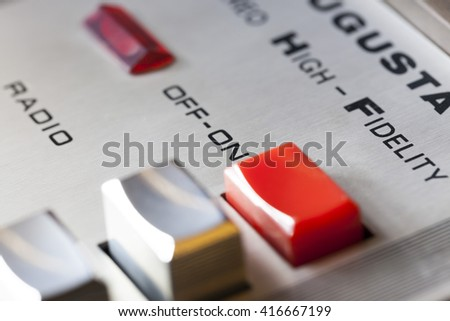 vintage record player macro close-up, buttons dials detail  - stock photo
