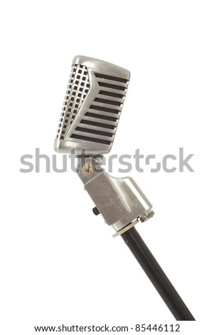 Vintage recording, announcing or singing microphone isolated on white