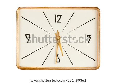 Vintage rectangle clock face in golden yellow frame showing half past five o'clock isolated over white background
