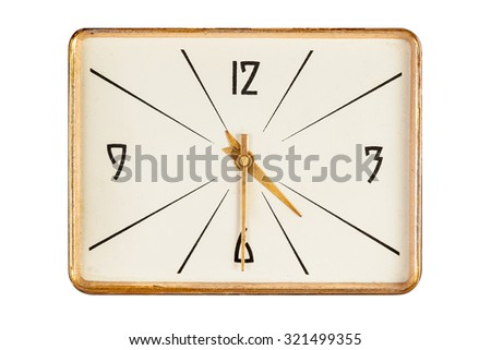 Vintage rectangle clock face in golden yellow frame showing half past four o'clock isolated over white background - stock photo