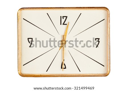 Vintage rectangle clock face in golden yellow frame showing half past twelve o'clock isolated over white background - stock photo