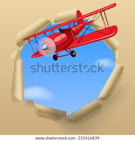 Vintage red airplane with torn paper hole on the sky - stock photo