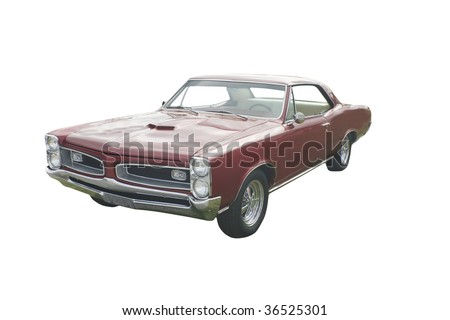 vintage red American muscle car on white - stock photo