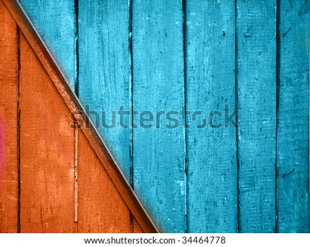 vintage red and blue planks background - stock photo