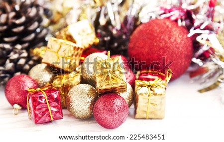 Vintage Red and Golden Christmas Decoration with Glitter Globes,Little Gifts - stock photo