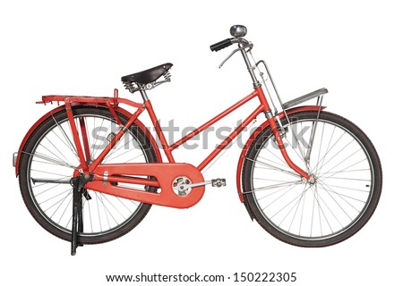 Vintage red bicycle isolated on white background - stock photo