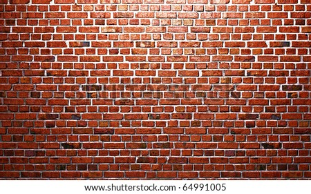 vintage red brick wall - stock photo