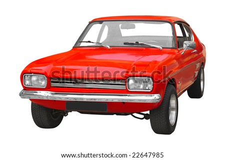 vintage red British muscle car from the 70s isolated on white background - stock photo