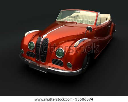 Vintage red car on dark background. For other views or colors of this car please check my portfolio. - stock photo