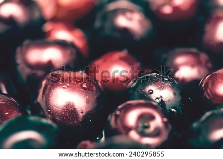 Vintage Red Cherries Close Up - stock photo