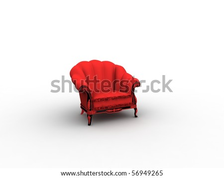 vintage red easy chair - stock photo