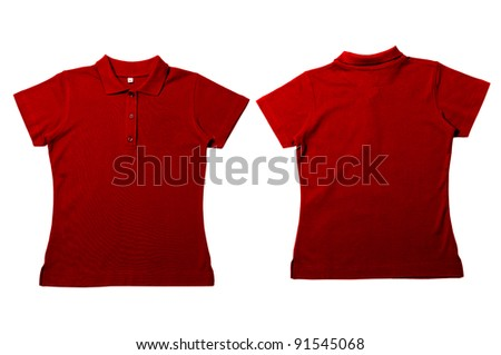 Vintage  Red Female color Polo Shirt with white background Men Front and back Polo Shirt - stock photo