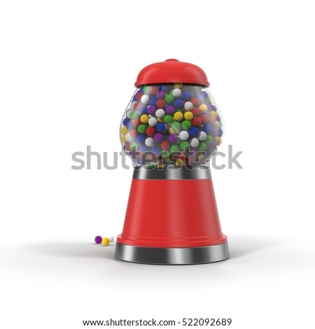 Vintage red gumball machine with multi-colored gumballs on white. 3D illustration