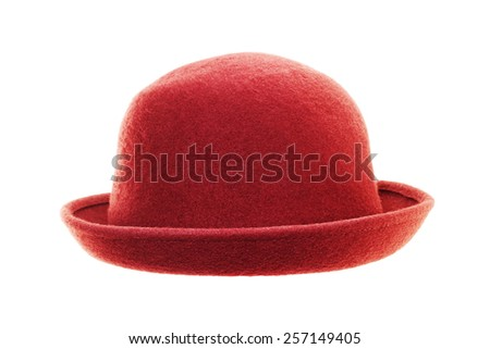 Vintage red hat isolated on white background - stock photo