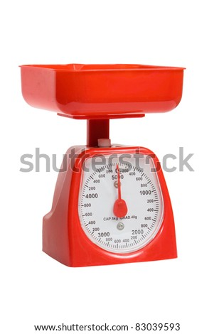 vintage red kitchen scales isolated on white background, clipping path. - stock photo
