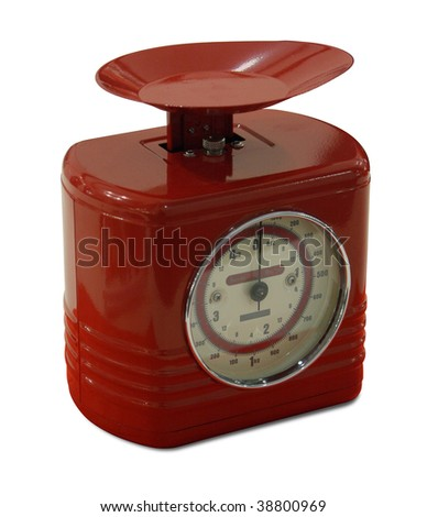 Vintage red kitchen scales isolated on white background with path. - stock photo