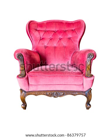 vintage red luxury armchair isolated with clipping path - stock photo