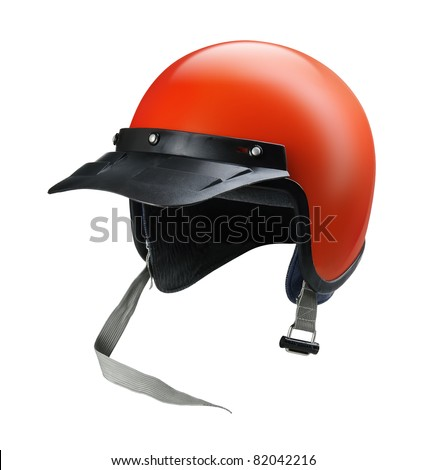 Vintage red motorcycle helmet isolated on white background - stock photo