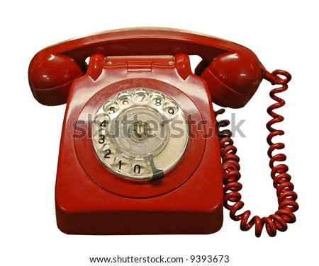 Vintage red phone - stock photo
