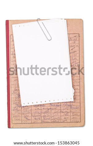 vintage red record with a blank sheet of paper, isolated on white. - stock photo