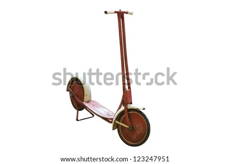 Vintage red scooter on a white background. Clipping path included. - stock photo