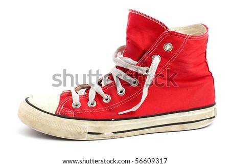 vintage red shoe isolated - stock photo