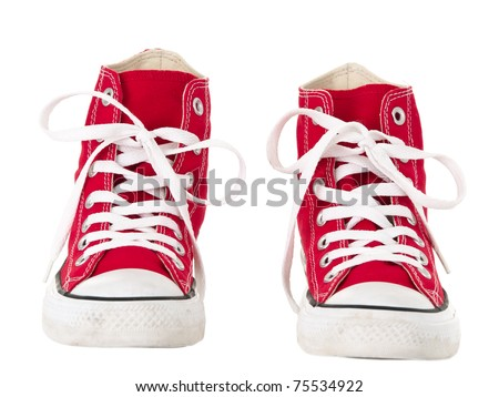 Vintage red shoes front view on pure white background - stock photo