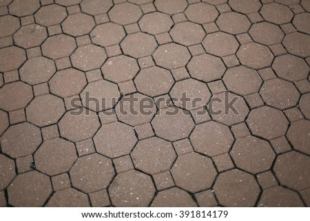 Vintage red stone street road pavement hexagon texture - stock photo