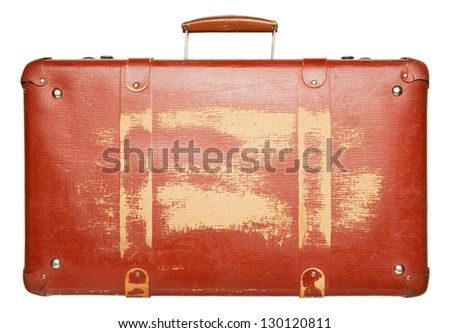 Vintage red suitcase isolated on white background - stock photo