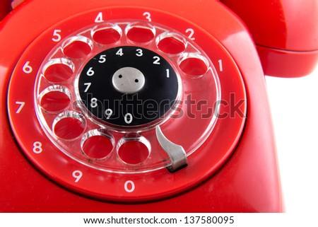 Vintage Red Telephone - stock photo