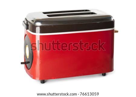 Vintage red toaster on white background - stock photo