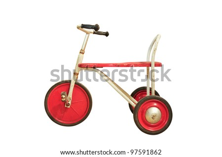 Vintage red tricycle isolated on white - stock photo