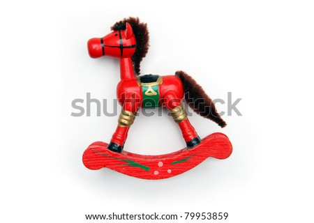 Vintage Red Wooden Rocking Horse Ornament - stock photo