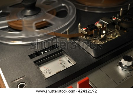 vintage reel-to-reel recorder - stock photo