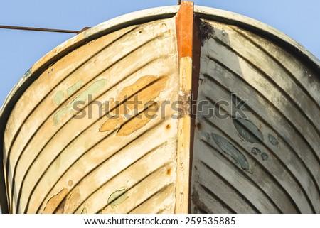 Vintage Rescue Boat Old ship wooden rescue boat vintage decor of era in ocean transport - stock photo