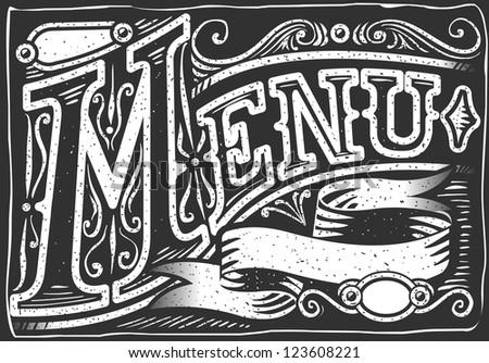 Vintage Restaurant Menu Blackboard. Breakfast Restaurant Chalk Board Menu.Retro Breakfast Menu Restaurant.Street Food Shop Blackboard List.Old Pub Bar Vintage Board Background Infographic Illustration - stock photo