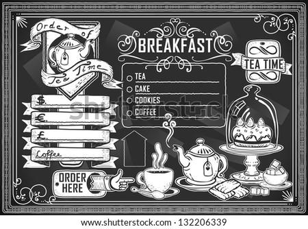 Vintage Restaurant Menu Blackboard. Breakfast Restaurant Chalk Board Menu.  Retro Breakfast Menu Restaurant.Street Food Shop Blackboard.Old Pub Bar Vintage Board Background Infographic Illustration - stock photo