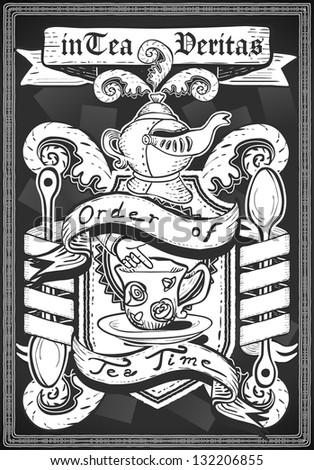 Vintage Restaurant Menu Blackboard. Tea Time Restaurant Chalk Board Menu.Retro Tea Time Menu Restaurant.Street Food Shop Blackboard List.Old Pub Bar Vintage Board Background Infographic Illustration - stock photo