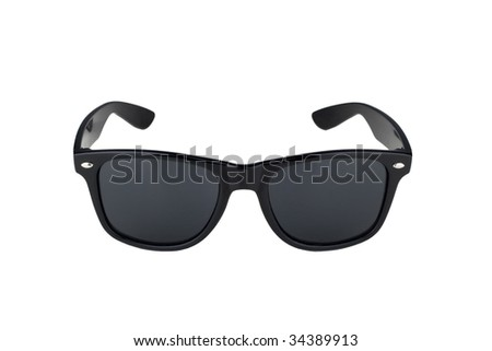 vintage retro black sunglasses isolated on white - stock photo