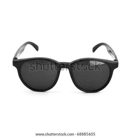 vintage retro black sunglasses isolated on white - stock photo