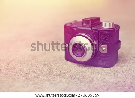 vintage retro camera with color filters . - stock photo