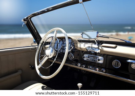 Vintage retro car interior - stock photo