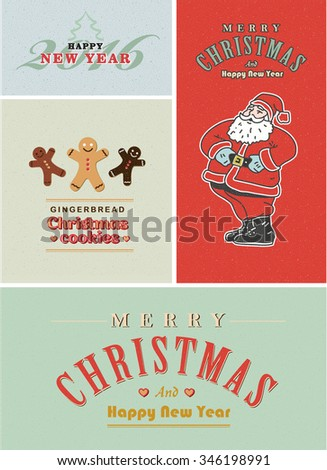 Vintage retro Christmas card set. Old-fashioned Santa Claus, gingerbread and old style lettering - stock photo