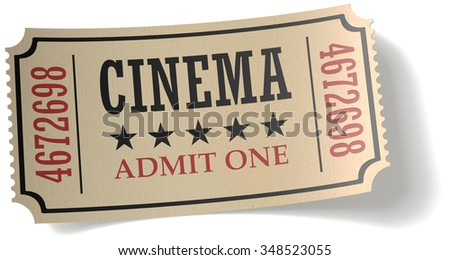 Vintage retro cinema creative concept: retro vintage cinema admit one ticket made of yellow textured paper isolated on white background with shadow, closeup view 3d illustration