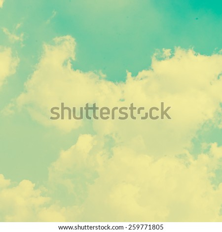 Vintage retro Clouds on blue sky background - Vintage effect style pictures