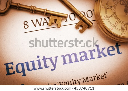 Vintage / retro color style : Two brass keys and a pocket watch on an equity market principal / fundamental document. A concept of investing in the equity market that need  some basic knowledge.