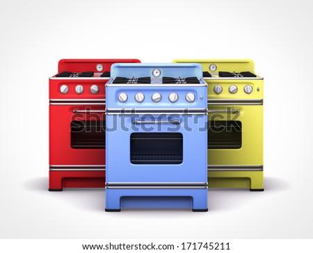 vintage retro colorful stoves  - stock photo