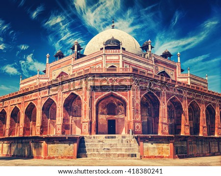 Vintage retro effect filtered hipster style image of Delhi famous tourist attraction landmark - Humayun's Tomb. Delhi, India. UNESCO World Heritage Site - stock photo