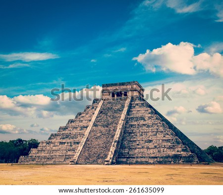 Vintage retro effect filtered hipster style image of famous mexican landmark - anicent mayan pyramid in Chichen-Itza, Mexico - stock photo