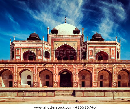 Vintage retro effect filtered hipster style image of famous tourist indian landmark Humayun's Tomb. Delhi, India. UNESCO World Heritage Site. Frontal View - stock photo